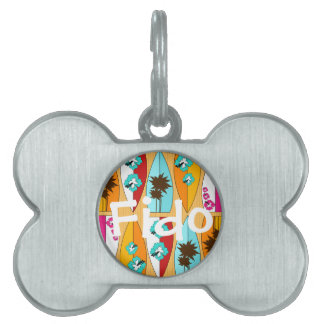 Surfboards on the Boardwalk Summer Beach Theme Pet Name Tag