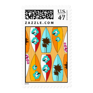 Surfboards on the Boardwalk Summer Beach Theme Postage