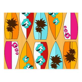 Surfboards on the Boardwalk Summer Beach Theme Postcard