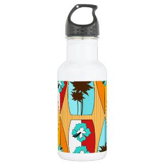 Surfboards on the Boardwalk Summer Beach Theme Stainless Steel Water Bottle