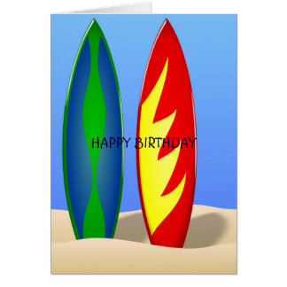 Surfboards retro surf Birthday Cards