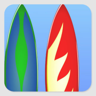 Surfboards retro surf square stickers