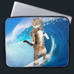 """Surfcat -surfing cat - crazy cat computer sleeve<br><div class=""""desc"""">surf surfing summer cute,  animal beach surfboard ocean , sport surfer nature happy , drawing sea art beautiful , mammal young wave lifestyle,  kitten tabby pet feline,  eyes cats kitty fur,  funny looking domestic adorable,  purebred pretty gray small , striped grey furry paw</div>"""