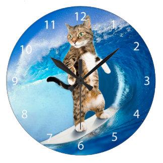 Surfcat -surfing cat - crazy cat large clock