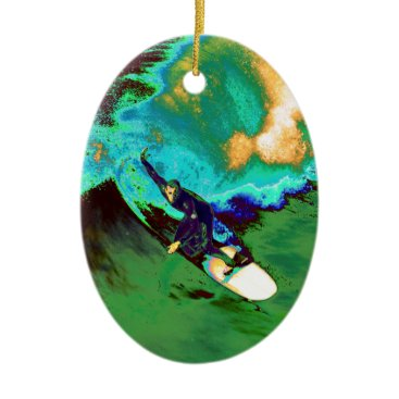 USA Themed Surfer2 Ceramic Ornament