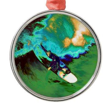 USA Themed Surfer2 Metal Ornament