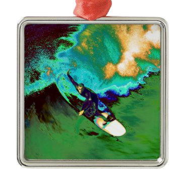 USA Themed Surfer2 Metal Ornament