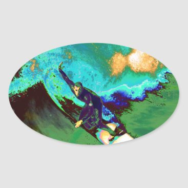 USA Themed Surfer2 Oval Sticker