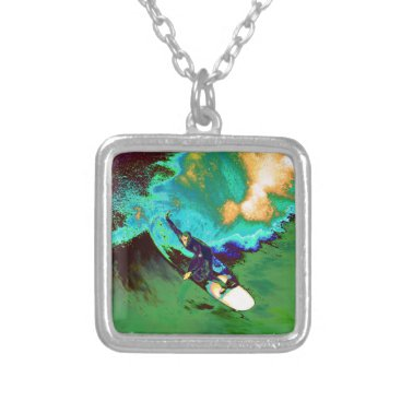USA Themed Surfer2 Silver Plated Necklace
