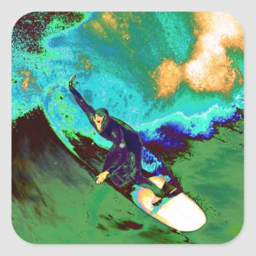 USA Themed Surfer2 Square Sticker