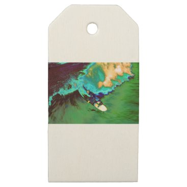 USA Themed Surfer2 Wooden Gift Tags