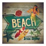 Surfer Aloha Hula Girl hawaii beach bridal shower Card