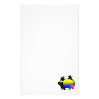Surfer and Flowers Stationery Design