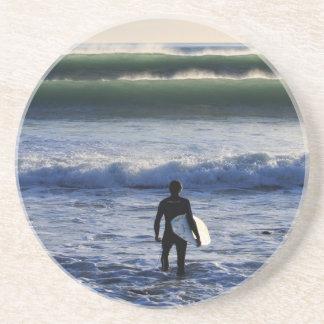 Surfer and green ocean waves beverage coasters