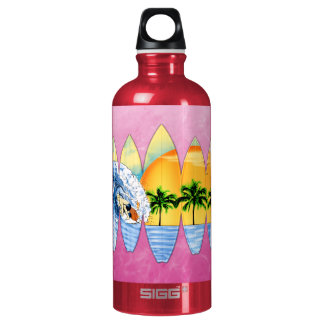 Surfer And Surfboards Aluminum Water Bottle