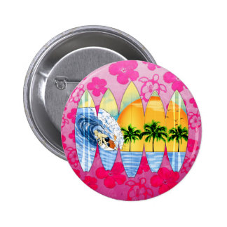 Surfer And Surfboards Pinback Buttons