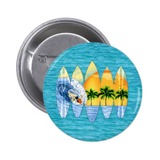 Surfer And Surfboards Button