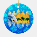 Surfer And Surfboards Ceramic Ornament