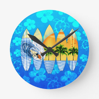 Surfer And Surfboards Wall Clocks