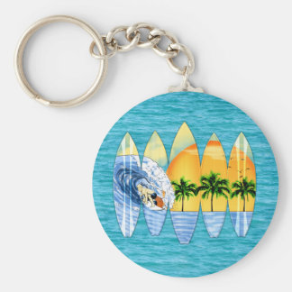 Surfer And Surfboards Key Chain