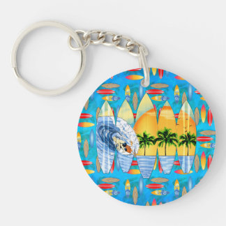 Surfer And Surfboards Keychain