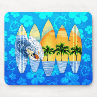 Surfer And Surfboards Mouse Pads