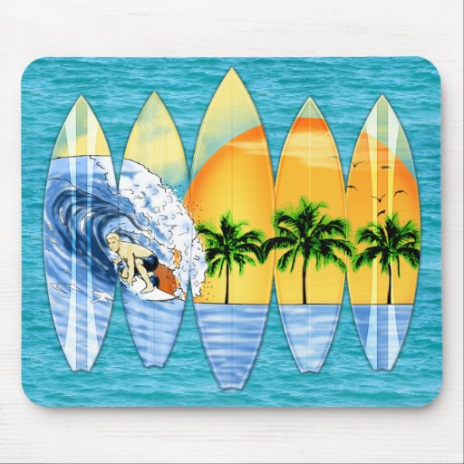 Surfer And Surfboards Mousepad