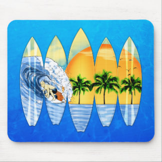 Surfer And Surfboards Mousepads