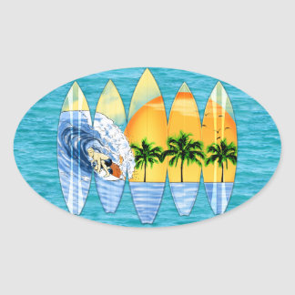 Surfer And Surfboards Oval Sticker