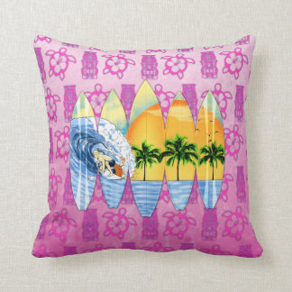 Surfer And Surfboards Throw Pillows