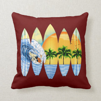 Surfer And Surfboards Pillow