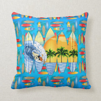 Surfer And Surfboards Pillows