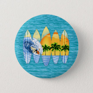 Surfer And Surfboards Pinback Button