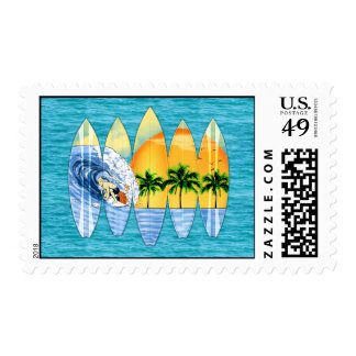 Surfer And Surfboards Postage Stamp