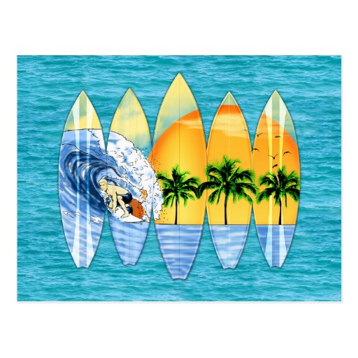 Surfer And Surfboards Postcards