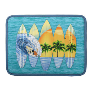 Surfer And Surfboards Sleeve For MacBooks