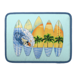 Surfer And Surfboards Sleeves For MacBook Pro