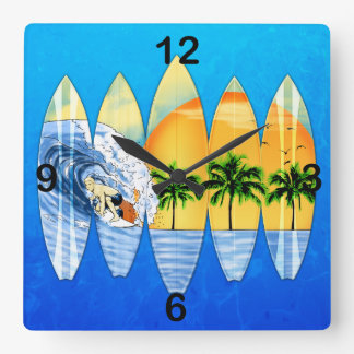 Surfer And Surfboards Square Wall Clock