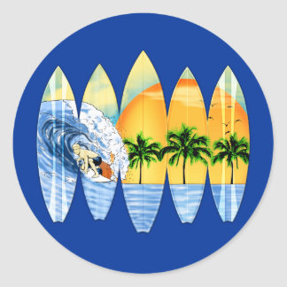 Surfer And Surfboards Classic Round Sticker