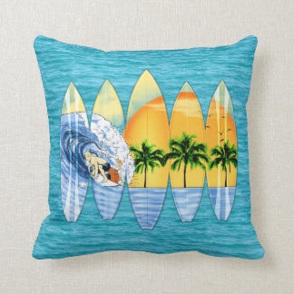 Surfer And Surfboards Throw Pillow