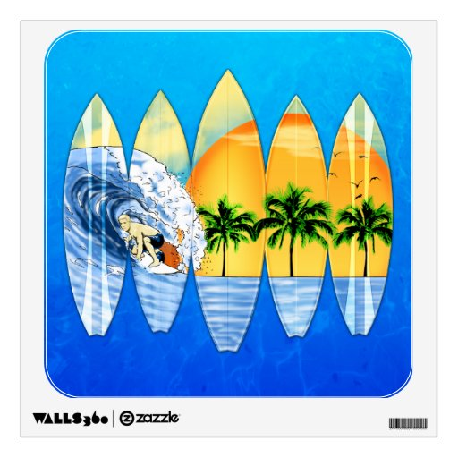 Surfer And Surfboards Room Decals