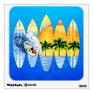 Surfer And Surfboards Wall Graphic