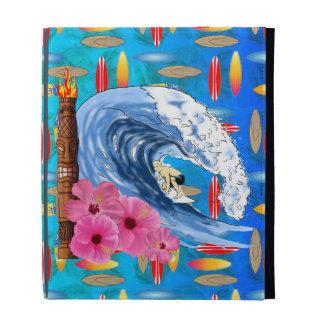 Surfer And Tiki Statue iPad Folio Covers