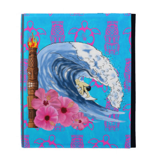 Surfer And Tiki Statue iPad Folio Case
