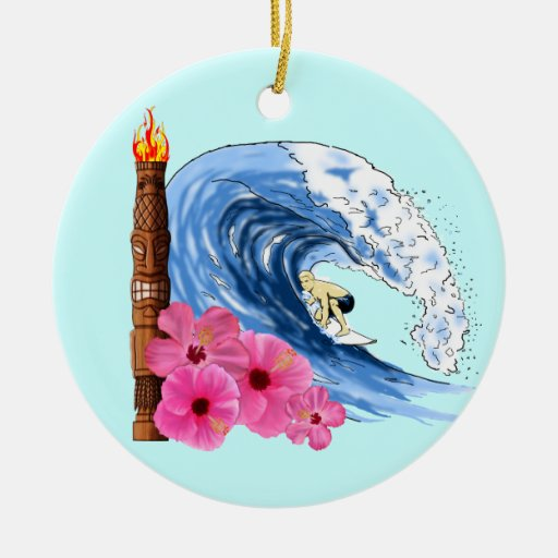 Surfer And Tiki Statue Double-Sided Ceramic Round Christmas Ornament