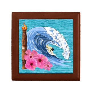 Surfer And Tiki Statue Jewelry Box