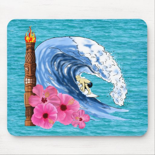 Surfer And Tiki Statue Mouse Pad