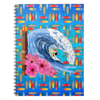 Surfer And Tiki Statue Notebook