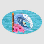 Surfer And Tiki Statue Oval Stickers