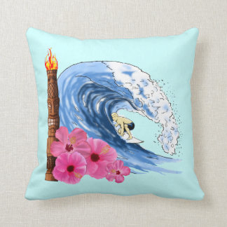 Surfer And Tiki Statue Pillow